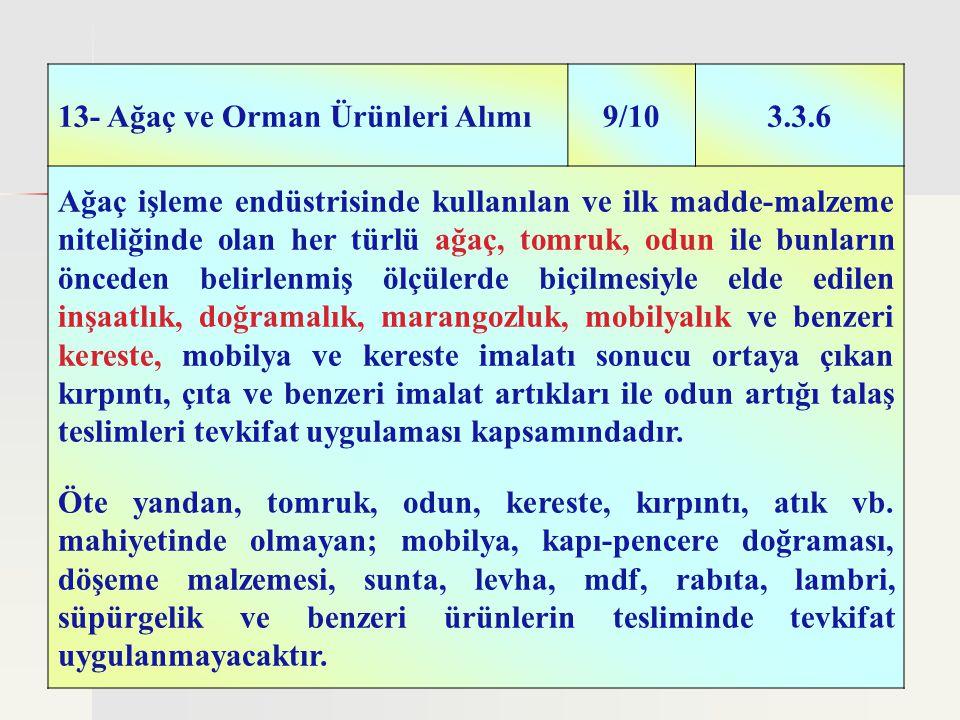 34 13- Ağaç ve Orman Ürünleri Alımı9/103.3.6 Ağaç işleme endüstrisinde kullanılan ve ilk madde-malzeme niteliğinde olan her türlü ağaç, tomruk, odun i
