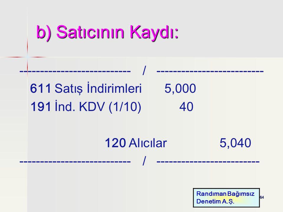 64 b) Satıcının Kaydı: --------------------------- / -------------------------- 611 Satış İndirimleri 5,000 191 İnd. KDV (1/10) 40 120 Alıcılar 5,040