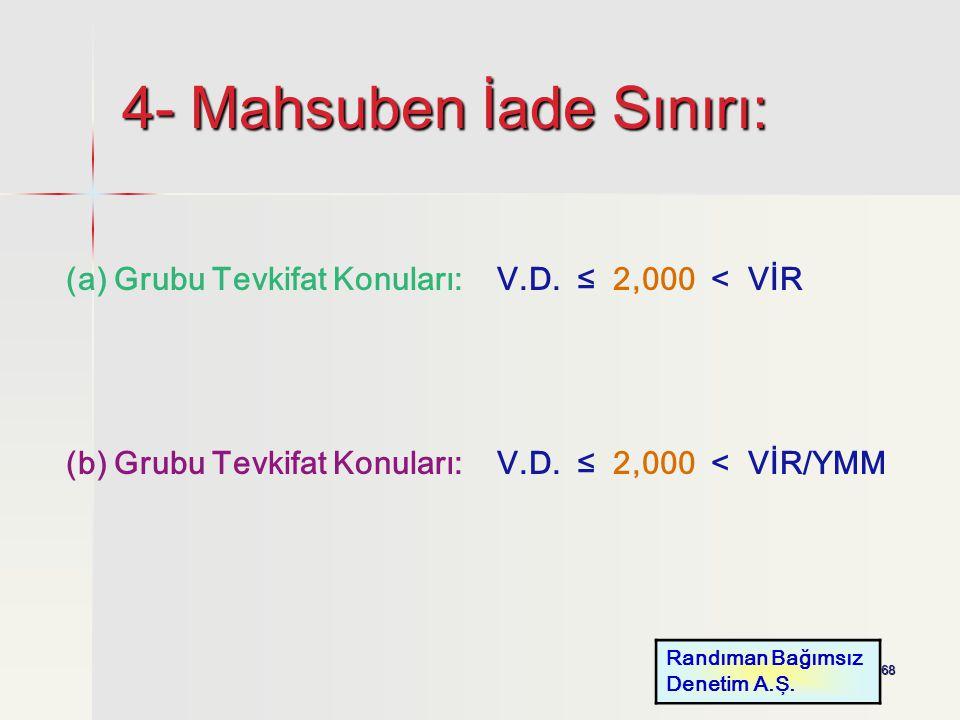 68 4- Mahsuben İade Sınırı: (a) Grubu Tevkifat Konuları: V.D. ≤ 2,000 < VİR (b) Grubu Tevkifat Konuları: V.D. ≤ 2,000 < VİR/YMM Randıman Bağımsız Dene