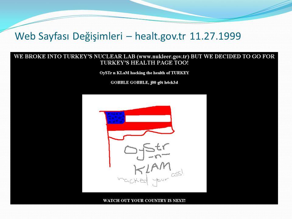 Web Sayfası Değişimleri – healt.gov.tr 11.27.1999