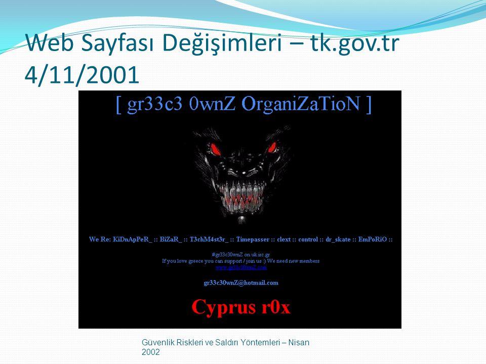 Web Sayfası Değişimleri – tk.gov.tr 4/11/2001 Güvenlik Riskleri ve Saldırı Yöntemleri – Nisan 2002
