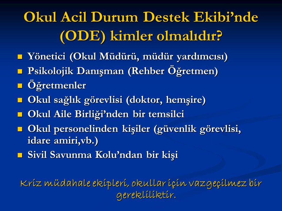 Okul Acil Durum Destek Ekibi'nde (ODE) kimler olmalıdır?  Yönetici (Okul Müdürü, müdür yardımcısı)  Psikolojik Danışman (Rehber Öğretmen)  Öğretmen