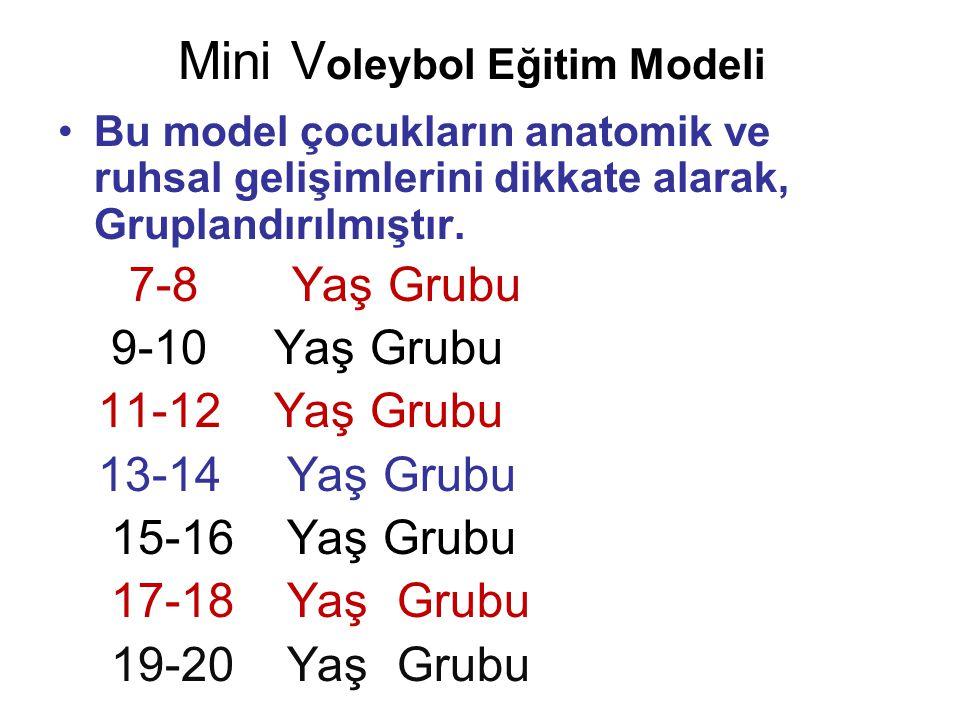 Mini V oleybol Eğitim Modeli •Bu model çocukların anatomik ve ruhsal gelişimlerini dikkate alarak, Gruplandırılmıştır. 7-8 Yaş Grubu 9-10 Yaş Grubu 11