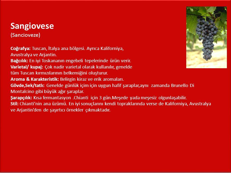 Riesling (Risling) Coğrafya: Fransa genelde Alsace,Almanya,doğu Avrupa,kuzey İtalya ve yeni dünya Bağcılık: Fransa Alsace bölgesi, Vosges dağlarının gölgelerinde uzun,güneşli,kuru yazlar kuzey batı Almanya Mosel nehri yamaçları Riesling için ideal koşulları sağlar Varietal/ kupaj: Arasıra kupajlarda kullanılsa da genelde varietal olarak kullanılır.