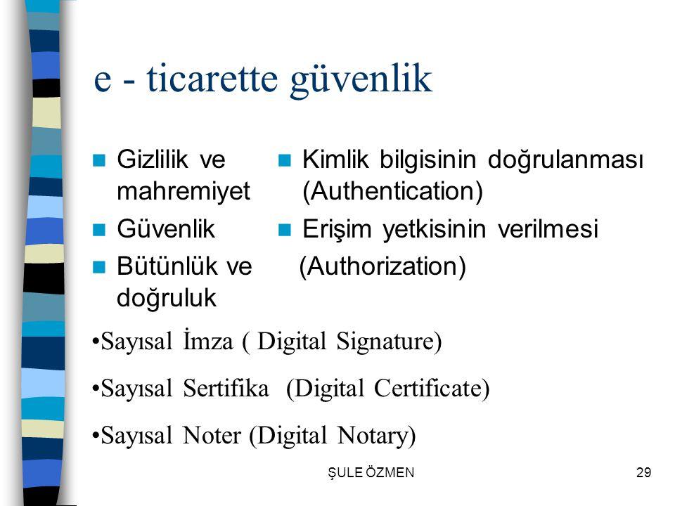 ŞULE ÖZMEN28 e - ticaret teknolojisi  Ölçeklenebilirlik – Scalable  Güvenilirlik  Veri tabanı ile ilişkilendirilmiş (bütünleşik)