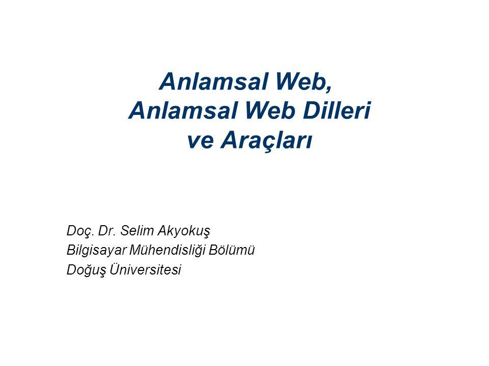 22 Anlamsal Web - Selim Akyokuş RDFS n RDFS nesnelerin hiyerarşik (üst küme / alt küme) ilişkilerinin tanımlanmasına imkan verir.