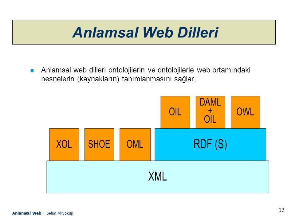 13 Anlamsal Web - Selim Akyokuş Anlamsal Web Dilleri n Anlamsal web dilleri ontolojilerin ve ontolojilerle web ortamındaki nesnelerin (kaynakların) tanımlanmasını sağlar.