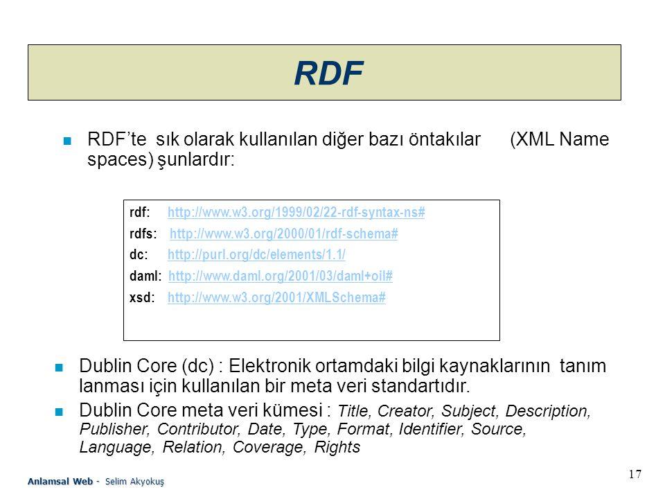 17 Anlamsal Web - Selim Akyokuş RDF n RDF'te sık olarak kullanılan diğer bazı öntakılar (XML Name spaces) şunlardır: rdf: http://www.w3.org/1999/02/22-rdf-syntax-ns#http://www.w3.org/1999/02/22-rdf-syntax-ns# rdfs: http://www.w3.org/2000/01/rdf-schema#http://www.w3.org/2000/01/rdf-schema# dc: http://purl.org/dc/elements/1.1/http://purl.org/dc/elements/1.1/ daml: http://www.daml.org/2001/03/daml+oil#http://www.daml.org/2001/03/daml+oil# xsd: http://www.w3.org/2001/XMLSchema#http://www.w3.org/2001/XMLSchema# n Dublin Core (dc) : Elektronik ortamdaki bilgi kaynaklarının tanım lanması için kullanılan bir meta veri standartıdır.