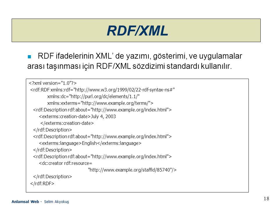 18 Anlamsal Web - Selim Akyokuş RDF/XML n RDF ifadelerinin XML' de yazımı, gösterimi, ve uygulamalar arası taşınması için RDF/XML sözdizimi standardı kullanılır.