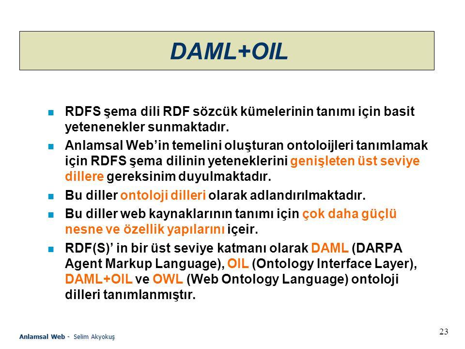 23 Anlamsal Web - Selim Akyokuş DAML+OIL n RDFS şema dili RDF sözcük kümelerinin tanımı için basit yetenenekler sunmaktadır.
