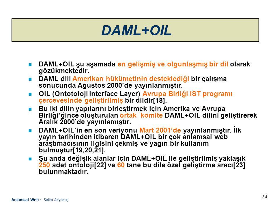 24 Anlamsal Web - Selim Akyokuş DAML+OIL n DAML+OIL şu aşamada en gelişmiş ve olgunlaşmış bir dil olarak gözükmektedir.