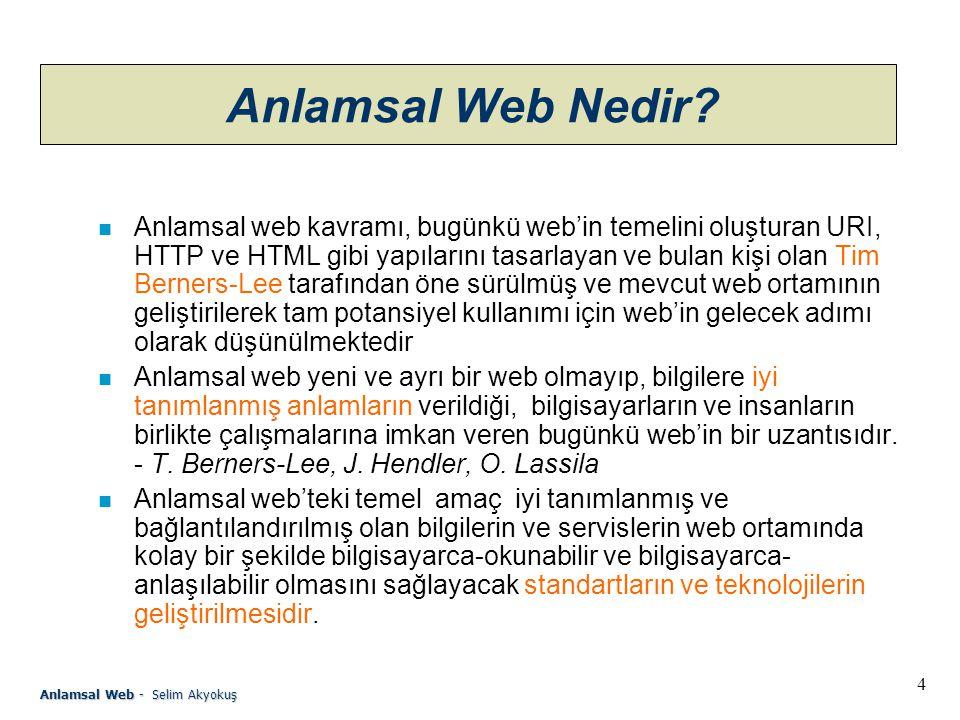 25 Anlamsal Web - Selim Akyokuş OWL n OWL (Web Ontology Language), W3C konsorsiyumu ontoloji gurubu tarafından standart ontoloji dili oluşturulması amacı ile geliştirilmekte olan bir dildir.
