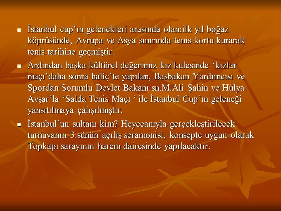  İstanbul cup'ın gelenekleri arasında olan;ilk yıl boğaz köprüsünde, Avrupa ve Asya sınırında tenis kortu kurarak tenis tarihine geçmiştir.  Ardında