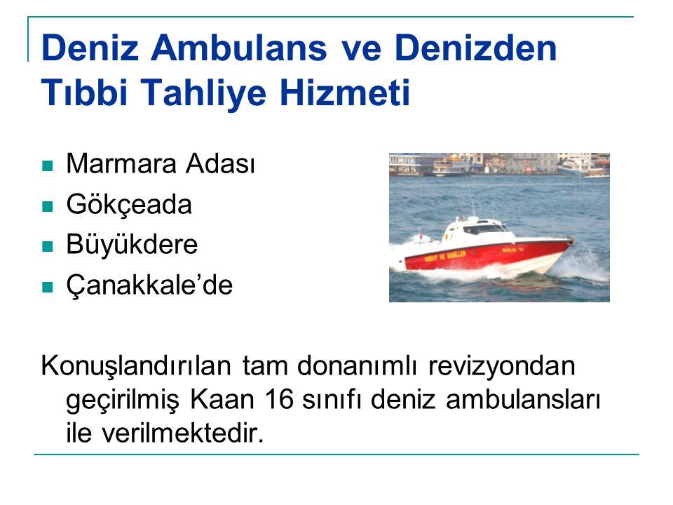 Deniz Ambulans ve Denizden Tıbbi Tahliye Hizmeti  Marmara Adası  Gökçeada  Büyükdere  Çanakkale'de Konuşlandırılan tam donanımlı revizyondan geçir