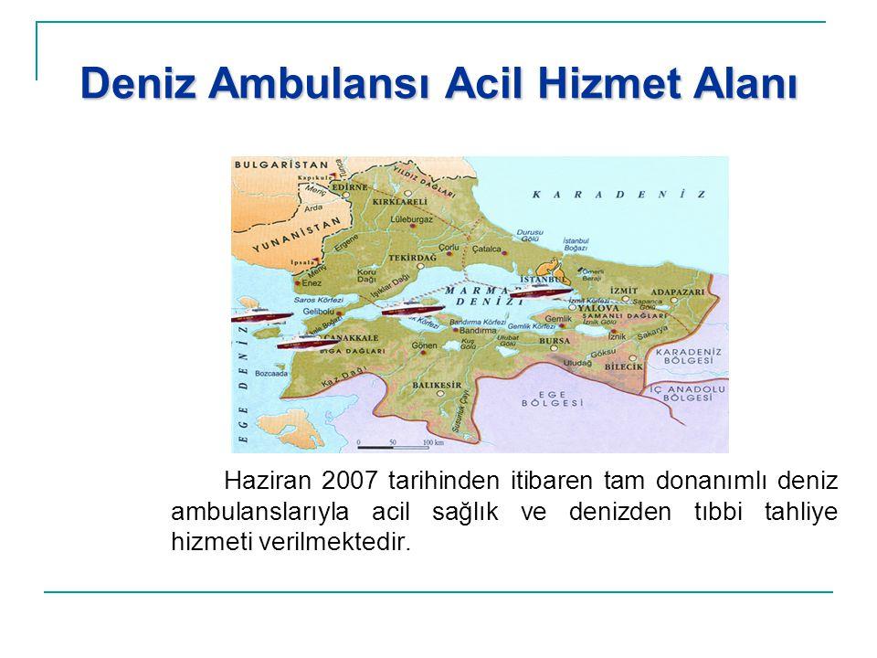 Deniz Ambulansı Acil Hizmet Alanı Haziran 2007 tarihinden itibaren tam donanımlı deniz ambulanslarıyla acil sağlık ve denizden tıbbi tahliye hizmeti v