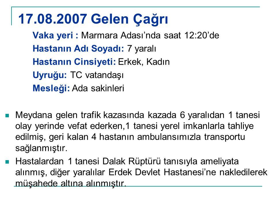 17.08.2007 Gelen Çağrı Vaka yeri : Marmara Adası'nda saat 12:20'de Hastanın Adı Soyadı: 7 yaralı Hastanın Cinsiyeti: Erkek, Kadın Uyruğu: TC vatandaşı