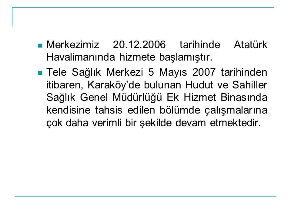  Merkezimiz 20.12.2006 tarihinde Atatürk Havalimanında hizmete başlamıştır.  Tele Sağlık Merkezi 5 Mayıs 2007 tarihinden itibaren, Karaköy'de buluna
