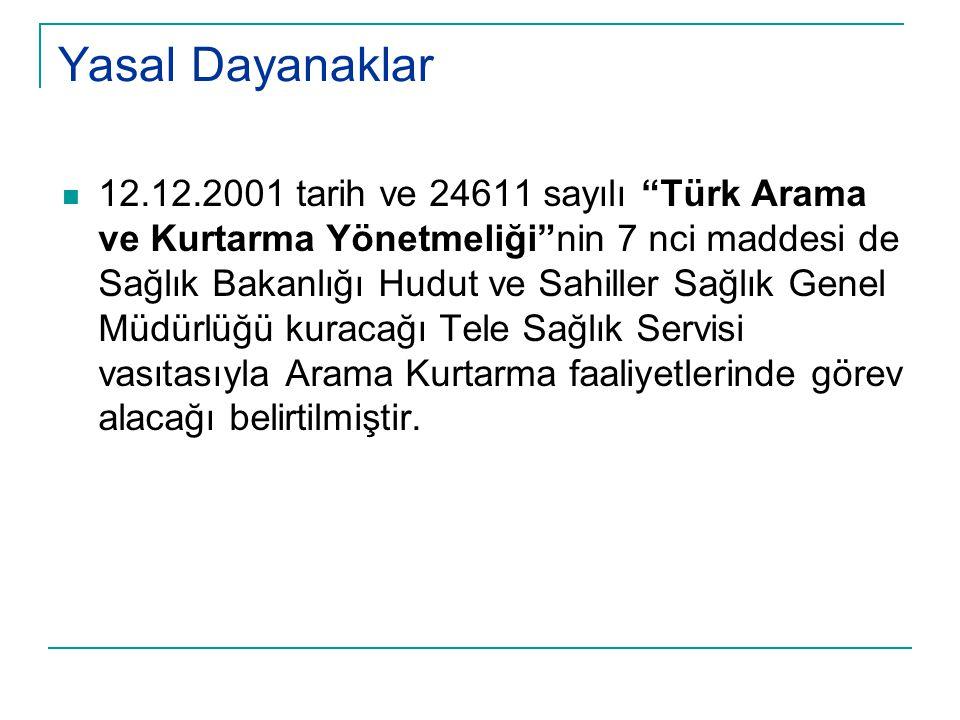 """Yasal Dayanaklar  12.12.2001 tarih ve 24611 sayılı """"Türk Arama ve Kurtarma Yönetmeliği""""nin 7 nci maddesi de Sağlık Bakanlığı Hudut ve Sahiller Sağlık"""