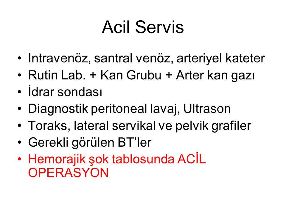 Acil Servis •Intravenöz, santral venöz, arteriyel kateter •Rutin Lab. + Kan Grubu + Arter kan gazı •İdrar sondası •Diagnostik peritoneal lavaj, Ultras