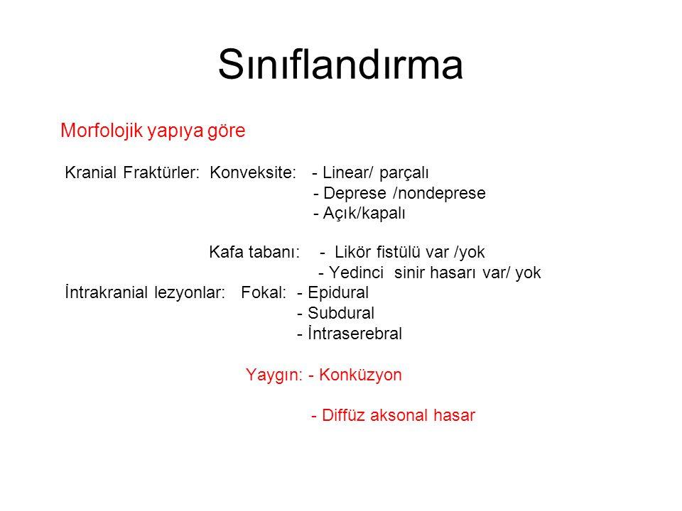 Sınıflandırma Morfolojik yapıya göre Kranial Fraktürler: Konveksite: - Linear/ parçalı - Deprese /nondeprese - Açık/kapalı Kafa tabanı: - Likör fistül