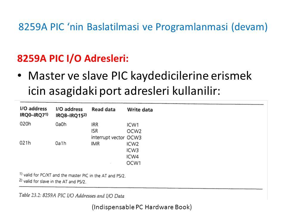 8259A PIC 'nin Baslatilmasi ve Programlanmasi (devam) 8259A PIC I/O Adresleri: • Master ve slave PIC kaydedicilerine erismek icin asagidaki port adresleri kullanilir: (Indispensable PC Hardware Book)