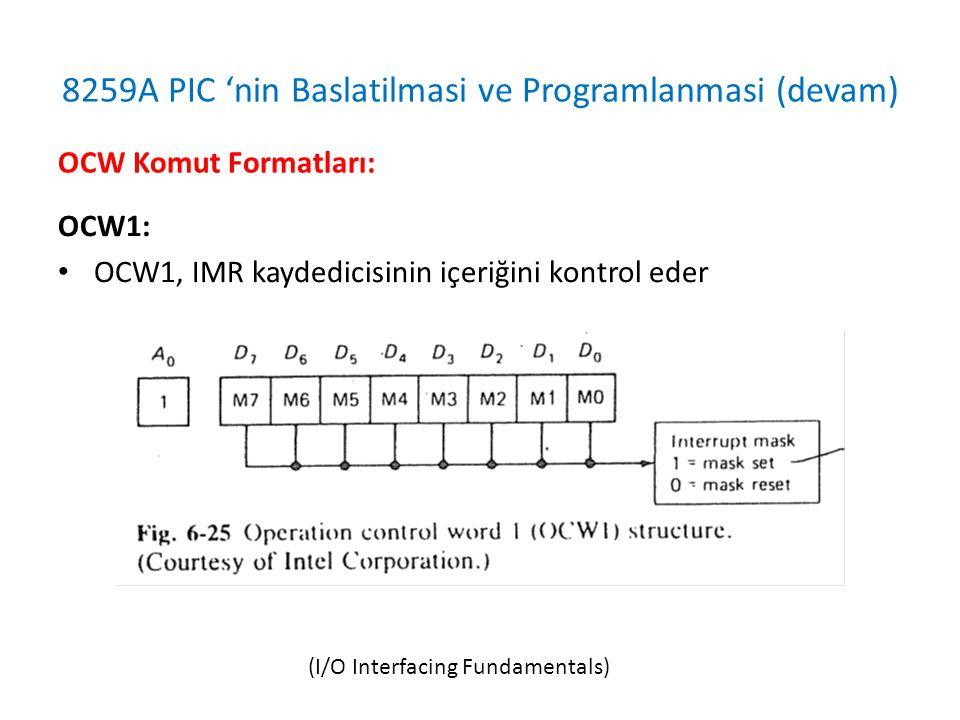 8259A PIC 'nin Baslatilmasi ve Programlanmasi (devam) OCW1: • OCW1, IMR kaydedicisinin içeriğini kontrol eder OCW Komut Formatları: (I/O Interfacing Fundamentals)