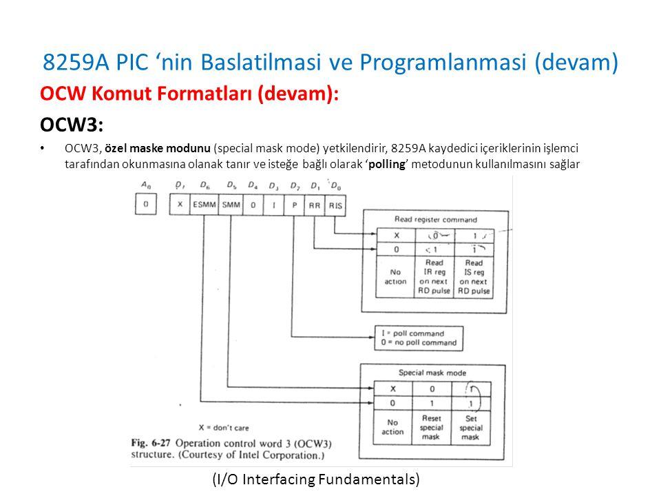 8259A PIC 'nin Baslatilmasi ve Programlanmasi (devam) OCW3: • OCW3, özel maske modunu (special mask mode) yetkilendirir, 8259A kaydedici içeriklerinin işlemci tarafından okunmasına olanak tanır ve isteğe bağlı olarak 'polling' metodunun kullanılmasını sağlar OCW Komut Formatları (devam): (I/O Interfacing Fundamentals)