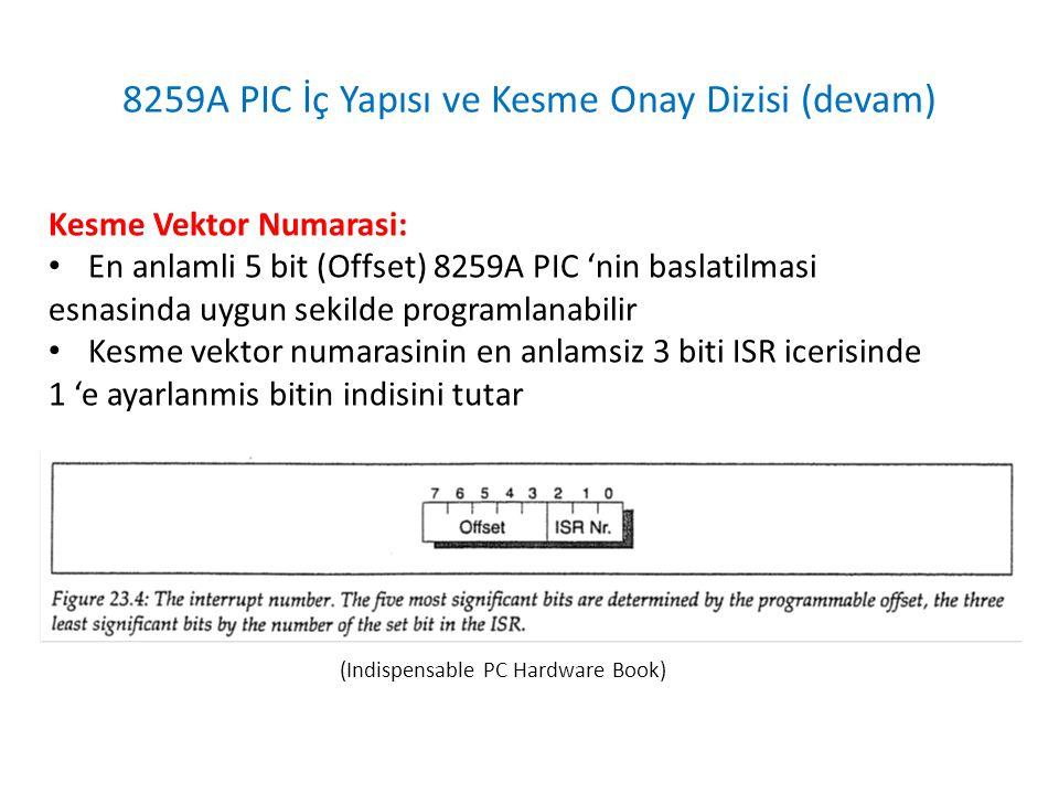8259A PIC İç Yapısı ve Kesme Onay Dizisi (devam) Kesme Onay Dizisinin Sonlandirilmasi: • 8259A PIC, 8 bitlik kesme vektor numarasinin veri yoluna koyulup kesme servis programinn baslatilmasinin ardindan kesme onay dizisini sonlandirir ve bir sonraki kesmeyi islemeye hazir hale gelir – Eger 8259A PIC AEOI (Automatic End of Interrupt) calisma modunda kosuyorsa ilgili ISR biti otomatik olarak 0 'a ayarlanir – Eger 8259A PIC AEOI (Automatic End of Interrupt) calisma modunda kosmuyorsa kesme servis programinin kendisi EOI (End of Interrupt) komutunu PIC 'ye gondermelidir; bunun ardindan ilgili ISR biti 0 'a ayarlanir
