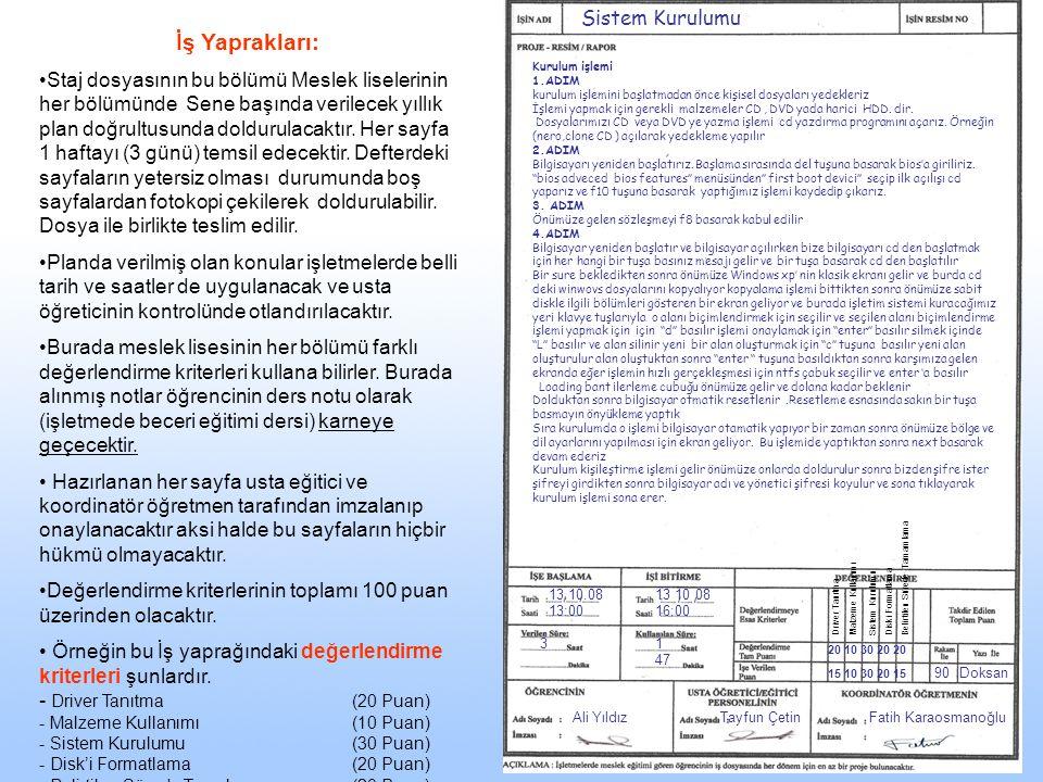 13.10.08 13:00 13 10 08 16:00 31 47 90Doksan Ali YıldızTayfun ÇetinFatih Karaosmanoğlu Sistem Kurulumu İş Yaprakları: •Staj dosyasının bu bölümü Mesle