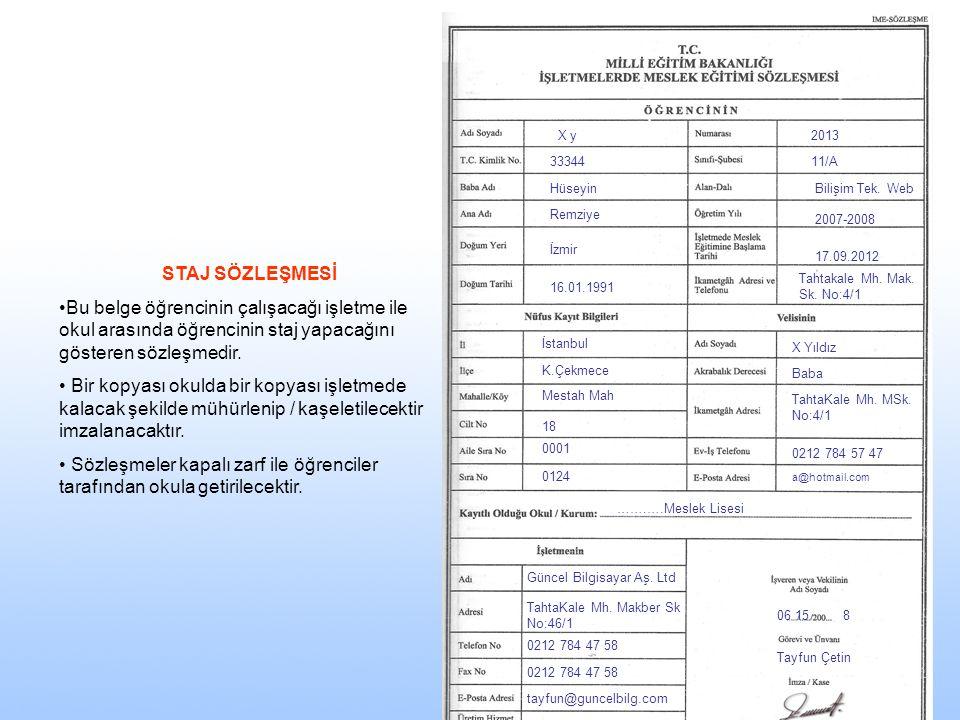 X y 33344 Hüseyin Remziye İzmir 16.01.1991 2013 11/A Bilişim Tek. Web 2007-2008 17.09.2012 Tahtakale Mh. Mak. Sk. No:4/1 İstanbul K.Çekmece Mestah Mah