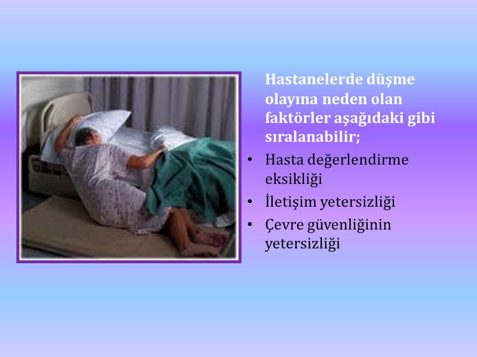 Hastanelerde düşme olayına neden olan faktörler aşağıdaki gibi sıralanabilir; • Hasta değerlendirme eksikliği • İletişim yetersizliği • Çevre güvenliğ