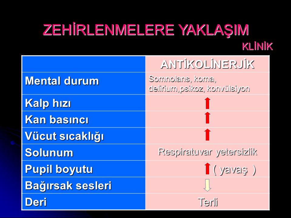 ANTİKOLİNERJİK Mental durum Somnolans, koma, delirium,psikoz, konvülsiyon Kalp hızı Kan basıncı Vücut sıcaklığı Solunum Respiratuvar yetersizlik Pupil boyutu ( yavaş ) ( yavaş ) Bağırsak sesleri DeriTerli ZEHİRLENMELERE YAKLAŞIM KLİNİK KLİNİK