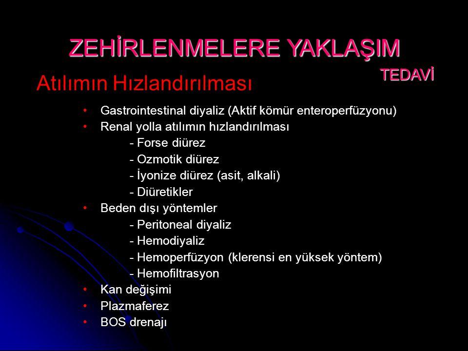Atılımın Hızlandırılması •Gastrointestinal diyaliz (Aktif kömür enteroperfüzyonu) •Renal yolla atılımın hızlandırılması - Forse diürez - Ozmotik diürez - İyonize diürez (asit, alkali) - Diüretikler •Beden dışı yöntemler - Peritoneal diyaliz - Hemodiyaliz - Hemoperfüzyon (klerensi en yüksek yöntem) - Hemofiltrasyon •Kan değişimi •Plazmaferez •BOS drenajı ZEHİRLENMELERE YAKLAŞIM TEDAVİ TEDAVİ