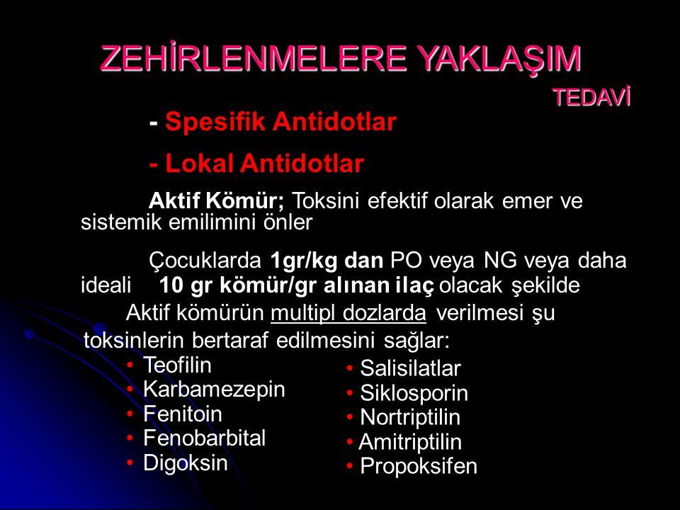Aktif kömürün multipl dozlarda verilmesi şu toksinlerin bertaraf edilmesini sağlar: •Teofilin •Karbamezepin •Fenitoin •Fenobarbital •Digoksin ZEHİRLENMELERE YAKLAŞIM TEDAVİ TEDAVİ • Salisilatlar • Siklosporin • Nortriptilin • Amitriptilin • Propoksifen - Spesifik Antidotlar - Lokal Antidotlar Aktif Kömür; Toksini efektif olarak emer ve sistemik emilimini önler Çocuklarda 1gr/kg dan PO veya NG veya daha ideali 10 gr kömür/gr alınan ilaç olacak şekilde
