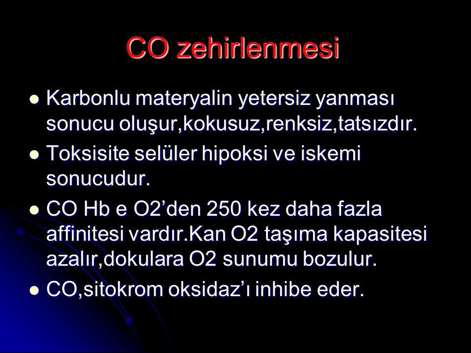 CO zehirlenmesi  Karbonlu materyalin yetersiz yanması sonucu oluşur,kokusuz,renksiz,tatsızdır.