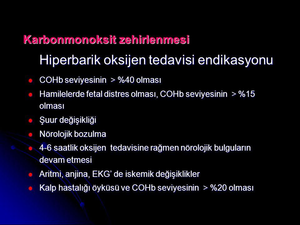 Hiperbarik oksijen tedavisi endikasyonu  COHb seviyesinin > %40 olması  Hamilelerde fetal distres olması, COHb seviyesinin > %15 olması  Şuur değişikliği  Nörolojik bozulma  4-6 saatlik oksijen tedavisine rağmen nörolojik bulguların devam etmesi  Aritmi, anjina, EKG' de iskemik değişiklikler  Kalp hastalığı öyküsü ve COHb seviyesinin > %20 olması Karbonmonoksit zehirlenmesi