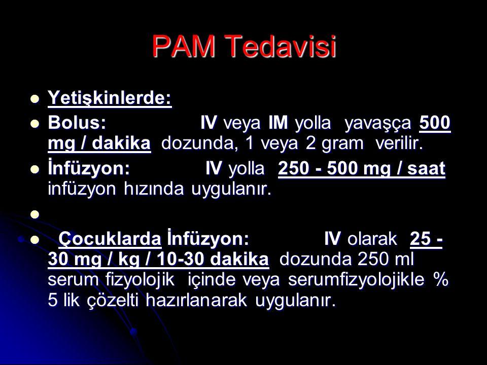 PAM Tedavisi  Yetişkinlerde:  Bolus: IV veya IM yolla yavaşça 500 mg / dakika dozunda, 1 veya 2 gram verilir.