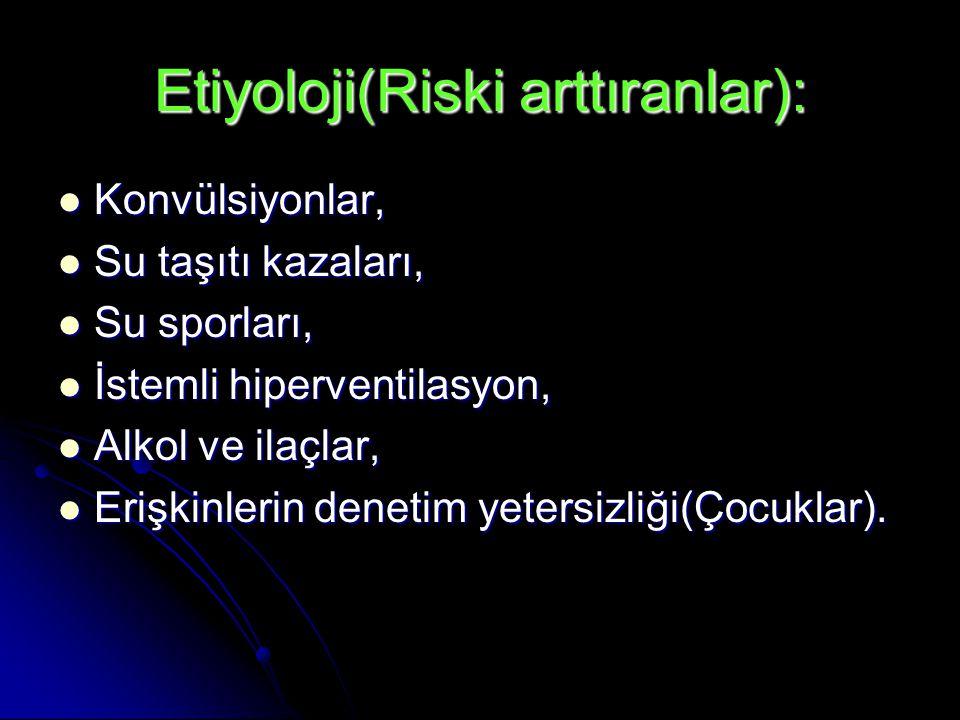 Etiyoloji(Riski arttıranlar):  Konvülsiyonlar,  Su taşıtı kazaları,  Su sporları,  İstemli hiperventilasyon,  Alkol ve ilaçlar,  Erişkinlerin denetim yetersizliği(Çocuklar).