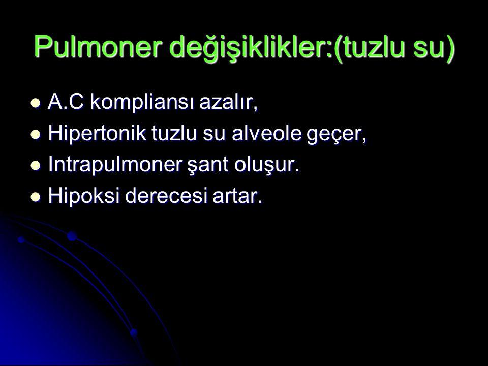 Pulmoner değişiklikler:(tuzlu su)  A.C kompliansı azalır,  Hipertonik tuzlu su alveole geçer,  Intrapulmoner şant oluşur.