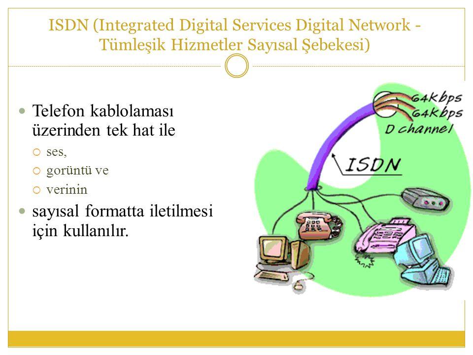 ISDN (Integrated Digital Services Digital Network - Tümleşik Hizmetler Sayısal Şebekesi)  Telefon kablolaması üzerinden tek hat ile  ses,  gorüntü ve  verinin  sayısal formatta iletilmesi için kullanılır.