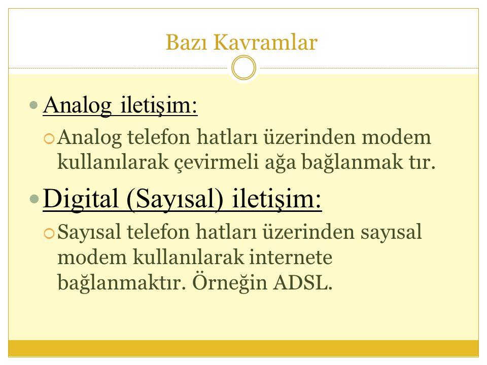 Bazı Kavramlar  Analog iletişim:  Analog telefon hatları üzerinden modem kullanılarak çevirmeli ağa bağlanmak tır.