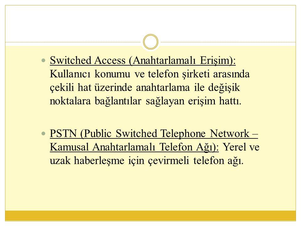 ISDN (Integrated Digital Services Digital Network - Tümleşik Hizmetler Sayısal Şebekesi)  ISDN hatlardan önce ses, veri ve video iletimi için birbirinden farklı ağlara gereksinim duyuluyordu.
