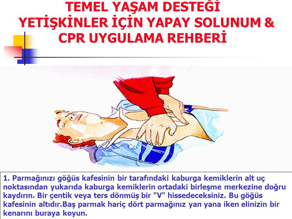 TEMEL YAŞAM DESTEĞİ YETİŞKİNLER İÇİN YAPAY SOLUNUM & CPR UYGULAMA REHBERİ 1. Parmağınızı göğüs kafesinin bir tarafındaki kaburga kemiklerin alt uç nok