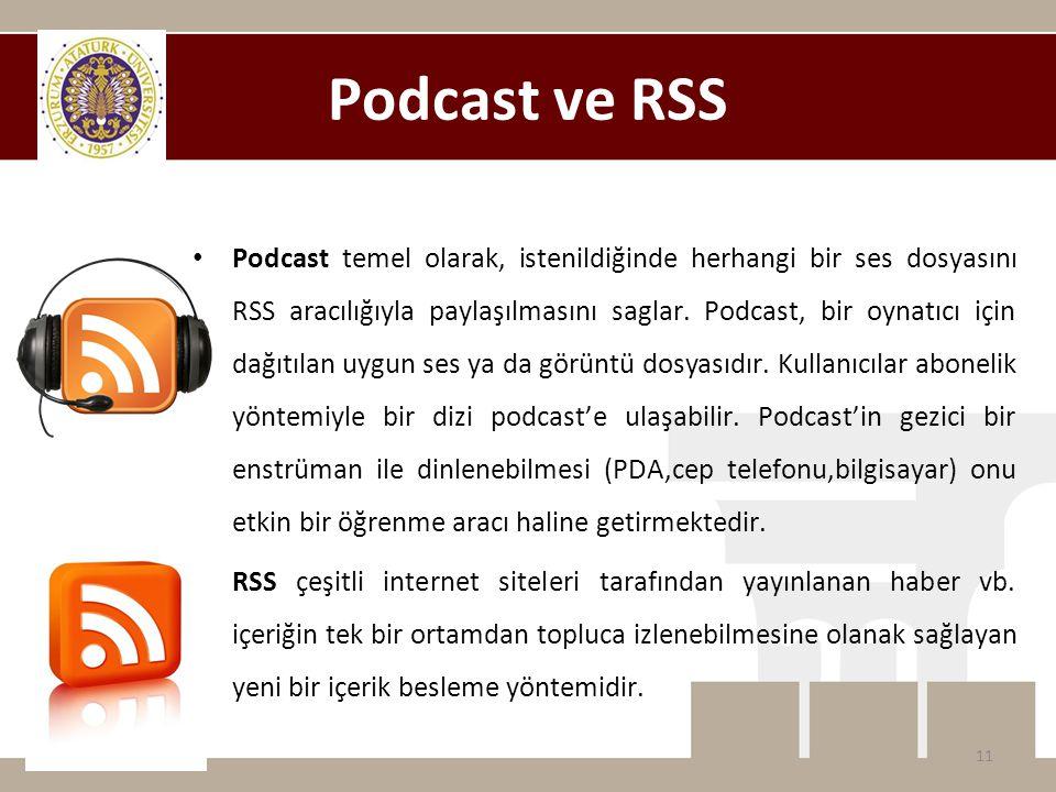 Podcast ve RSS • Podcast temel olarak, istenildiğinde herhangi bir ses dosyasını RSS aracılığıyla paylaşılmasını saglar. Podcast, bir oynatıcı için da