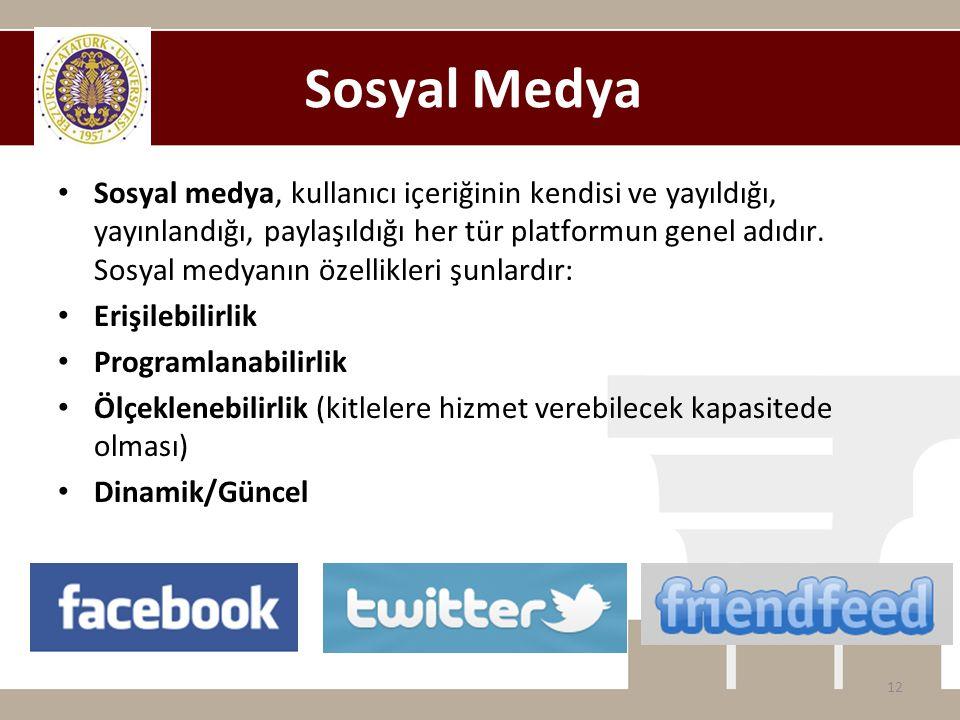 Sosyal Medya • Sosyal medya, kullanıcı içeriğinin kendisi ve yayıldığı, yayınlandığı, paylaşıldığı her tür platformun genel adıdır. Sosyal medyanın öz