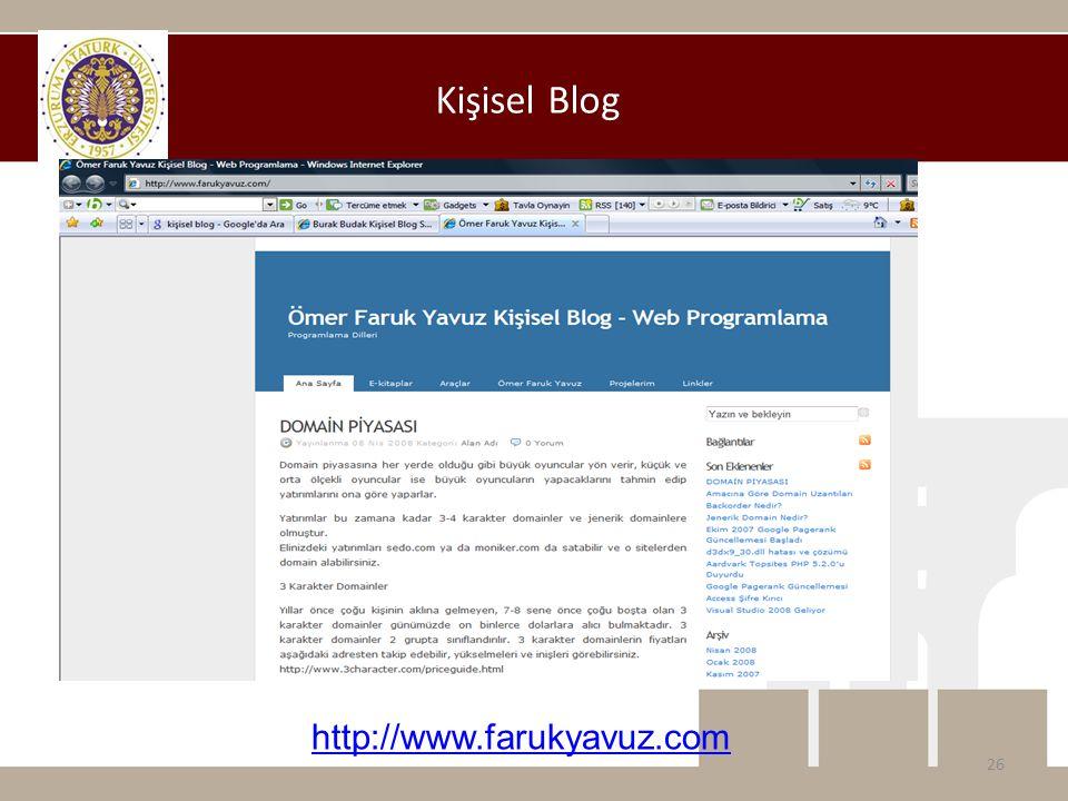Kişisel Blog 26 http://www.farukyavuz.com