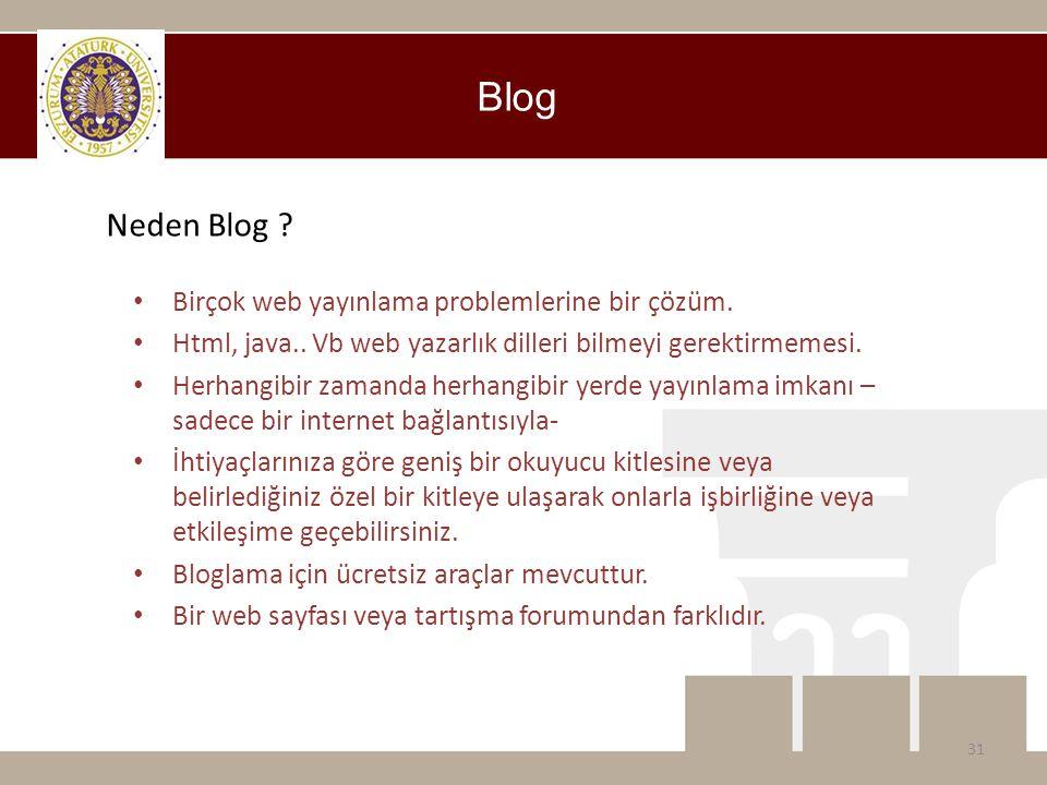 Blog Neden Blog ? • Birçok web yayınlama problemlerine bir çözüm. • Html, java.. Vb web yazarlık dilleri bilmeyi gerektirmemesi. • Herhangibir zamanda