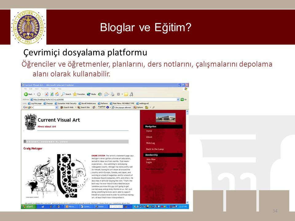 Bloglar ve Eğitim? Öğrenciler ve öğretmenler, planlarını, ders notlarını, çalışmalarını depolama alanı olarak kullanabilir. 34 Çevrimiçi dosyalama pla