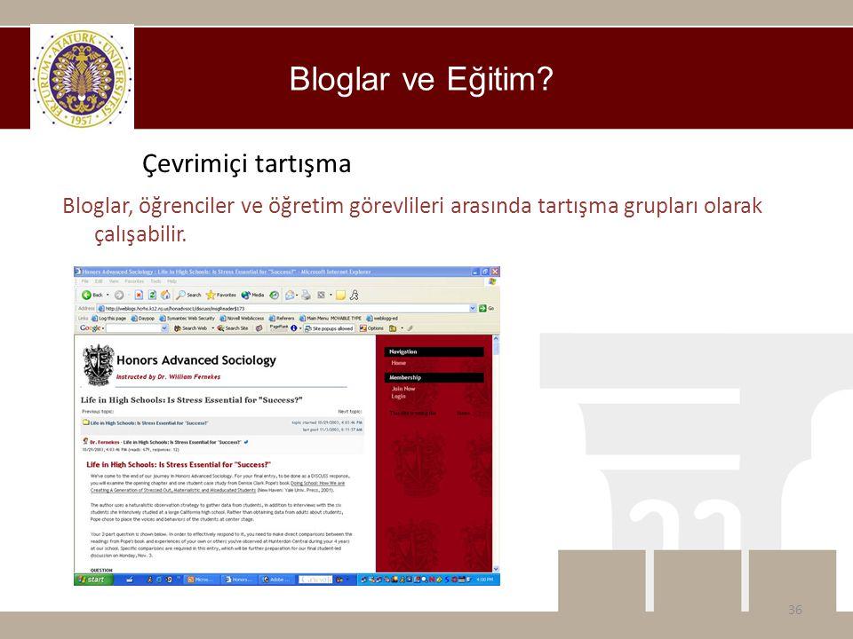 Bloglar ve Eğitim? Bloglar, öğrenciler ve öğretim görevlileri arasında tartışma grupları olarak çalışabilir. 36 Çevrimiçi tartışma