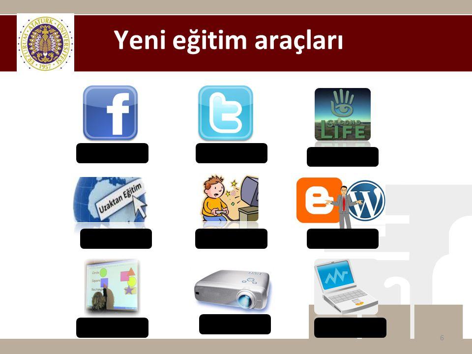 Facebook Twitter SecondLife Uzaktan Eğitim Facebook Eğitsel Oyunlar Projektör Bilgisayar Akıllı Tahta Yeni eğitim araçları 6